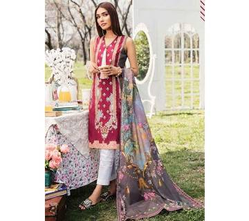 Unstitched Cotton sleeveless Salwar kameez for women