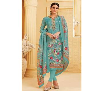 Unstitched French Crepe Digital print salwar kameez for women