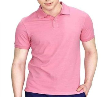 fulsleeve cotton casual POLO Shirt- PINK