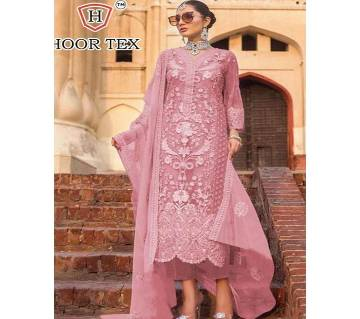 Unstitched Heavy net-work embroidery three-piece for women