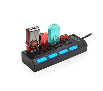 HIGH SPEED 4 PORT USB HUB WITH ON/OFF SWITCH.