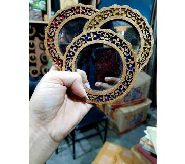 Wooden Round Hand Mirror-1pcs