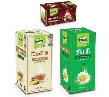 Green Tea, Masala Tea, Triphala Tea (Combo Pack)