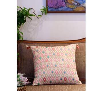 Ikat/ Blush Printed & Hand Embroidered Cushion Cover by Ivoryniche