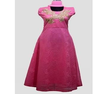 Unstitched Cotton gown for women-3pcs
