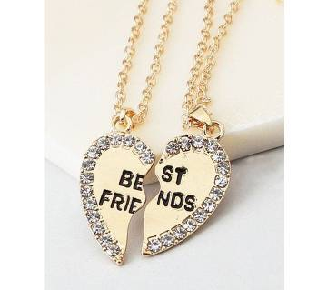 Two Half Love Heart gold color Pendant Necklaces-2Pcs