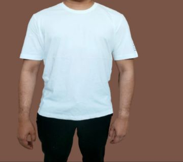 Casual half sleeve Cotton T-shirt for men - White