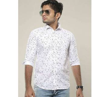 White Long Sleeve Printed Casual Shirt for Men