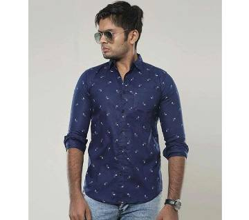 Navy Blue Long Sleeve Printed Casual Shirt for Men