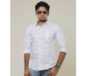 White Long Sleeve Printed Casual Shirt