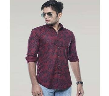 Maroon Long Sleeve Printed Casual Shirt for Men