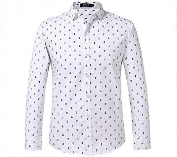 White Cotton Full Sleeve Casual Shirt for Men