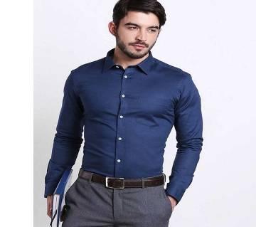 Navy Blue Cotton Full Sleeve Formal Shirt for Men