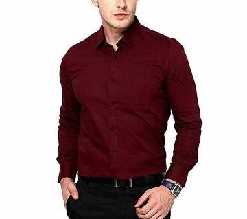 Maroon Cotton Formal Shirt For Men