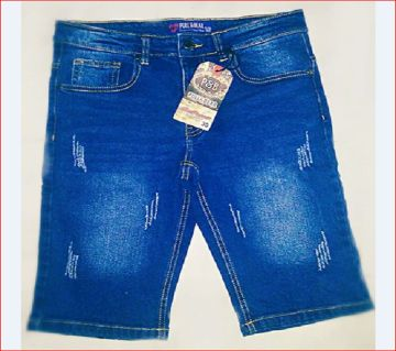Navy blue two quarter jeans pants for man