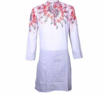 Long Cotton Boishakhi Punjabi for Men-White