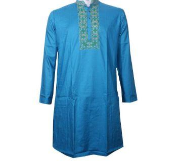 Long cotton punjabi for Men-Blue