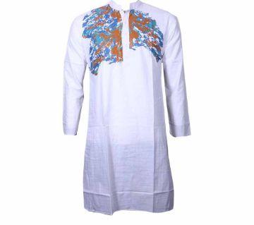 Long Cotton Printed punjabi for Men-White