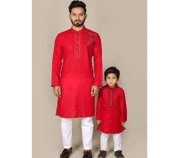 Father & son panjabi set 105-Cotton