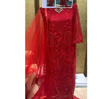 Unstitched Net Fabric Charizma Red Queen 3 Piece
