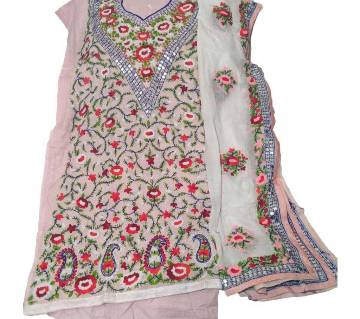 Unstitched Light Pink Cotton phulkari Handset Dollar Work