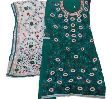 Unstitched Pesta Cotton Phulkari Handset Dollar Work-2 Piece