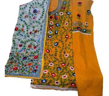 Unstitched Yellow Cotton Phulkari Handset Dollar Work-3 Piece