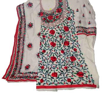 Unstitched Off white Cotton Phulkari Handset Dollar Work-2 Piece