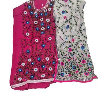 Unstitched Pink Cotton Phulkari Handset Dollar Work-2 Piece