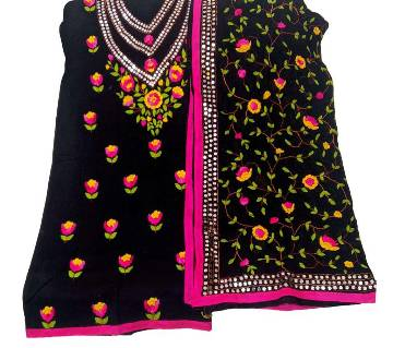 Unstitched Black Cotton Phulkari Handset Dollar Work-2 Piece