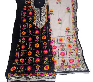 Unstitched Black And White Cotton Phulkari Handset Dollar Work-2 Piece