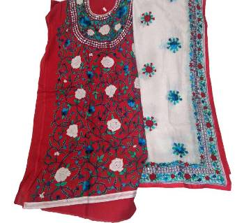 Unstitched Red Cotton Phulkari Handset Dollar Work-2 Piece