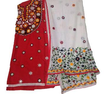 Unstitched Red And White Cotton phulkari Handset Dollar Work-2 Piece