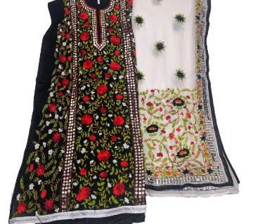Unstitched Black Cotton-phulkari Handset Dollar Work-2 Piece