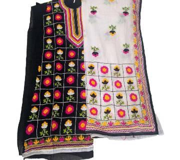 Unstitched Black Cotton Phulkari Flower Handset Dollar Work-2 piece