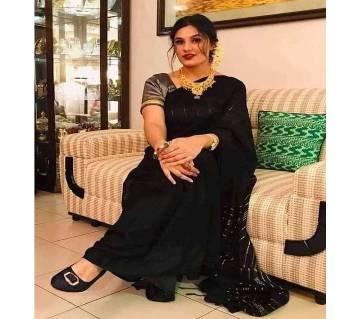 Womens Monipuri Jhum Saree Without Blouse Piece Black