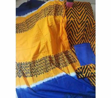 Unstitched Block Printed Cotton 3Pcs For Women Yellow
