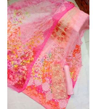 Digital cotton unstitched salwar kameez