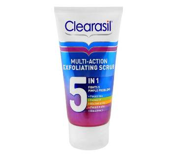 Clearasil Multi-Action 5-In-1 Exfoliating Scrub Fights 5 Pimple Problems -150ml-UK