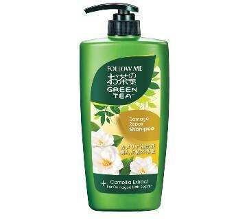 follow me green tea damage repair shampoo and camelia extract 650 ml-Malaysia