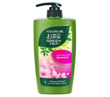 follow me green tea soft and smooth shampoo and sakura extract 400 ml-Malaysia