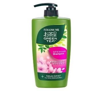 follow me green tea soft and smooth shampoo and sakura extract 650 ml-Malaysia