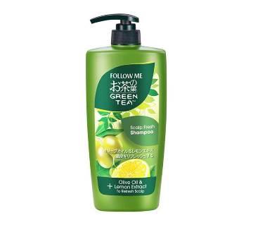 Original follow me green tea scalp fresh shampoo and olive oil & lemon extract 650 ml-Malaysia