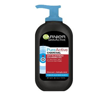Garnier Pure Active Anti-Blackhead Charcoal Cleansing Gel Wash, Enriched with Salicylic Acid and Charcoal for Oily Spot Prone Skin 200 ml-Polland