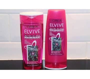 Loreal Paris Elvive Nutri-gloss Luminiser Shampoo and Conditioner-400ml-France