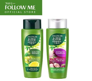 Follow me green tea scalp fresh shampoo and olive oil & lemon extract 320 ml-Malaysia