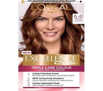 LOreal paris 6.41 Natural Hazelnut Excellence creme triple care colour- 8.22 Oz-France
