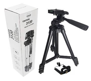 3120 Aluminum Alloy Tripod For Mobile and Camera - Black
