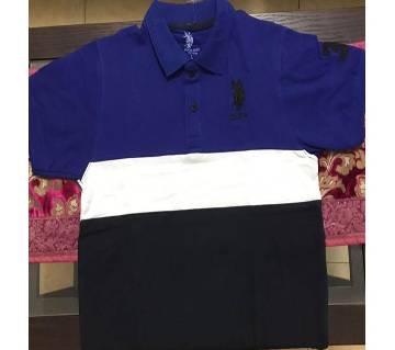 Mix Color Half Sleeve Polo Shirt For Men - Blue CAP302