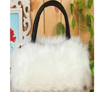 Ladies PU Leather & Faux Fur Handbag